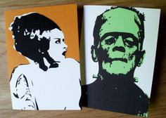 Combo! Frankenstein and Bride of Frankenstein Card Set http://www.etsy.com/shop/printandtonic?ref=seller_info_count #Halloween #GraphicDesign