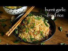 burnt garlic fried rice recipe, burnt garlic rice, burnt garlic veg fried rice with step by step photo/video. Vegetarian Rice Recipes, Veg Recipes, Lunch Recipes, Indian Food Recipes, Cooking Recipes, Chinese Recipes, Chinese Food, Asian Recipes, Appetiser Recipes