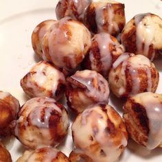 CINNAMON ROLL BALLS!  Putting that cake pop maker to a second use. Get the smaller cinnamon rolls, cut into 4ths. Use (generously) non-stick cooking spray. They only take 2 mins to cook so don't stray from the maker.