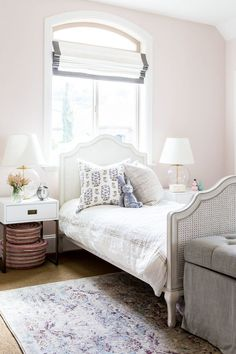 Foothill Drive Project: Kids' Roomsvv With the room's natural light, we created an airy feel starting with the wall color. It's the softest pink called Melted Ice Cream from Benjamin Moore.