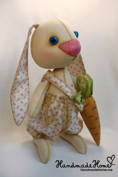 Collectible #Art Toy Bunny Prosha #Handmade #interior one of a kind doll - See more at: http://www.handmadehome.me/shop/kukly#sthash.9wlWC9Fj.dpuf