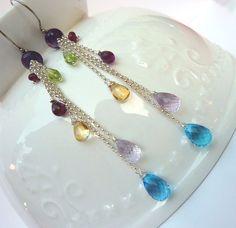 Long Dangle Earrings. Semi Precious Gem Beadwork Drop Earrings. Rainbow Modern Chandelier Earrings., $79.00