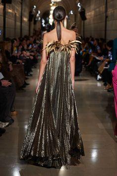 Oscar de la Renta Feather Neckline Metallic Silk-Blend Gown