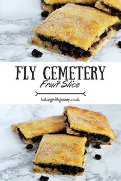 Fruit Slice - Fly Cemetery - first seen on the hairy bikers mums the word show - dead fly pie Baking Recipes, Cookie Recipes, Dessert Recipes, Dessert Bars, Fruit Slices, Scotland Food, Scottish Recipes, Scottish Dishes, British Dishes