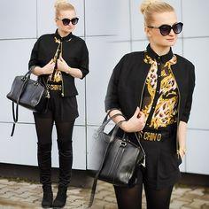 Get this look: http://lb.nu/look/5733949  More looks by Daria Darenia: http://lb.nu/user/35675-Daria-D  Items in this look:  Top Secret Blazer, Oasap Glasses   #splendor #moschinobelt #moschino #overknee #boots #black #topsecret #oasap #styllove