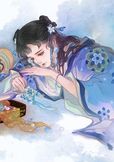 Manga Watercolor, Chinese Art, Modern, Trendy Tree