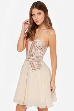 ab6ee2c37b94a Little Mistress Guarded Heart Strapless Beige Sequin Dress at LuLus.com!  Cute Dresses For