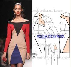 Antes de começar a trabalhar analise de forma detalhada o desenho do molde do vestido geométrico. Este vestido é simples e elegante.