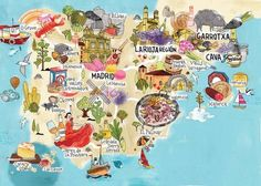 National Geographic Traveller - Spanish Flavour map by Tilly aka Running For Crayons Travel Maps, Travel Posters, Places To Travel, Map Of Spain, Les Continents, Country Maps, Travel Illustration, Vintage Maps, City Maps