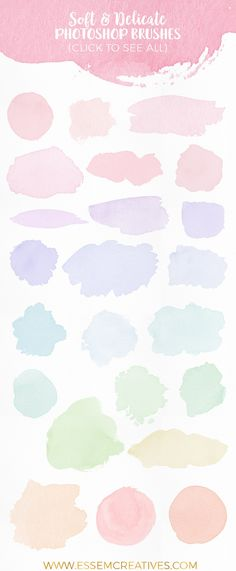 Watercolor brushes for photoshop, feminine watercolor logo, watercolor splash, splatter, soft watercolor background, website, branding, graphics, wedding invitation