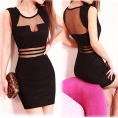 vestido de estilo sexy y transaparente en cintura de color negro se vende bien