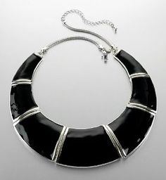 Limited Collection black enamel collar necklace to dress up a casual outfit.