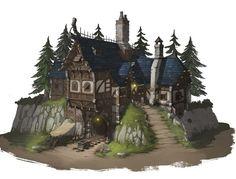 Fantasy City, Fantasy House, Fantasy Map, Fantasy Places, Medieval Fantasy, Fantasy World, Casa Medieval Minecraft, Minecraft Castle, Medieval Houses