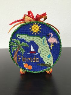 Silver Needle Florida ornament round finished as box with painted feet
