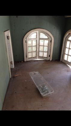 Red dollhouse drawing room prior to restoration