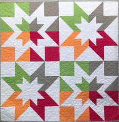 This colorful throw will add a punch of color to any room. Our quilts can be machine washed and tumble dried. It measures approximately 51 x Big Block Quilts, Star Quilt Blocks, Star Quilts, Scrappy Quilts, Mini Quilts, Baby Quilts, Quilt Square Patterns, Barn Quilt Patterns, Modern Quilt Patterns