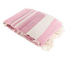 Plaid de algodón Rayas, rosa - 240x235 cm.