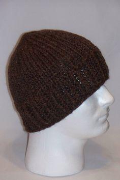 Warm Winter Beanie Hat  Brown  Mens by lousknittingroom on Etsy