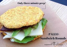 Paleo Sandwich Rounds recipe suitable for any sandwich filling or hamburgers. Grain/nut/dairy free.