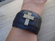 Artisan Black Leather Cuff with Antiqued Brass Cross Bracelet #Unbranded #Cuff
