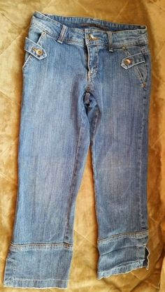 Boom Boom Capri Jeans Womens size 5 Cropped Medium Wash Cotton inseam 23 #BoomBoom #CapriCropped