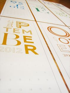 2012 modern typography calendar
