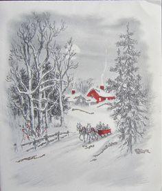 Vintage Christmas Greeting Card Silver Glitter Farm Horses and Buckboard Sled