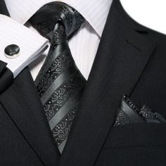 Black Stripe Necktie Set JPM18A77
