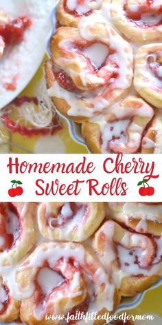 These Homemade Cherry Sweet Rolls are the BEST! Like Cherry Cinnamon Rolls! A simple orange glaze icing! Easiest cherry rolls you'll ever make from scratch! Cherry Desserts, Cherry Recipes, Köstliche Desserts, Delicious Desserts, Dessert Recipes, Easter Recipes, Recipes Dinner, Homemade Sweets, Homemade Rolls