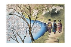 Rear View of Three Girls Walking on a Trail at Lakeside, Arashiyama, Kyoto Prefecture, Japan Giclee Print - AllPosters.co.uk