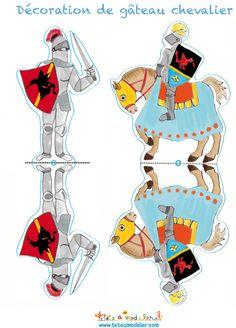 Décoration - chevalier à cheval et à pieds - Tête à modeler