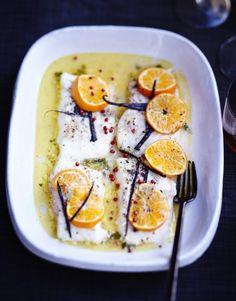 Poisson rôti aux agrumes et beurre vanillé pour 6 personnes - Recettes Elle à Table - Elle