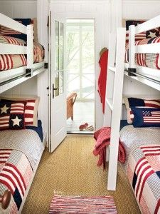 Bedroom Decorate With Red, White & Blue