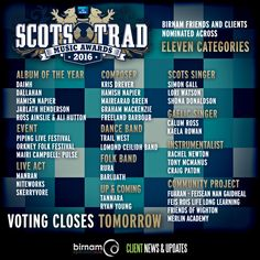 Voting for the MG Alba Scots Trad Music Awards closes TOMORROW! If you haven't voted yet, you can do so here: https://projects.handsupfortrad.scot/scotstradmusicawards/voting/