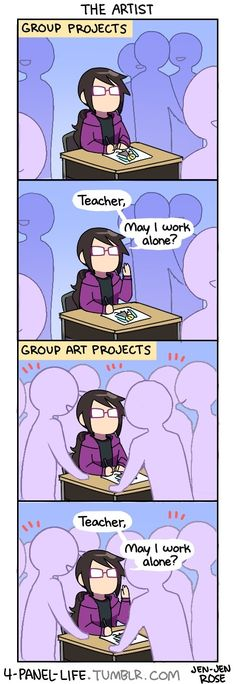 I hate doing art projects with whole groups. Especially cuz I'm already really bad at art and having 7 people crowding around me makes it even harder!