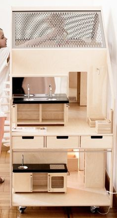 Dollhouse  birch plywood | beech  transparent varnish  stainless steel  wheels | staircase
