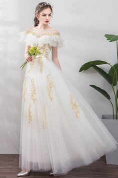 White Tulle Gold Lace Applique Long Ruffles Senior Prom Dress, Formal Dress on Luulla Senior Prom Dresses, High Low Prom Dresses, A Line Prom Dresses, Two Piece Evening Dresses, Lace Evening Dresses, White Tulle, Tulle Lace, White And Gold Dresses, Party Gowns