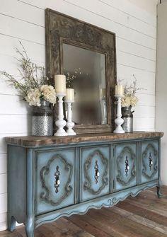 Chalk paint dresser buffet dark waxed over kingfisher blue dark wood top Buffet, Dresser, Cabinet, Storage, Diy, Furniture, Home Decor, Renovation, Footlocker