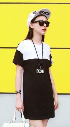 Fashiontroy Unique fashion short sleeves crew neck black letter printed two-tone cotton blend mini dress
