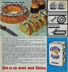 Kaffekrans og -stang Sweets Cake, Dinner Is Served, No Bake Cake, Cake Recipes, Sausage, Gluten, Cakes, Cooking, Recipes