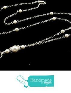 Women's Fashion ID Badge or Key Lanyard Necklace with White Swarovski Pearls and Silver Textured Chain with Breakaway Clasp from By Brenda Elaine Jewelry https://www.amazon.com/dp/B01LZHZQJ2/ref=hnd_sw_r_pi_dp_TyV-xbG2QRB4Q #handmadeatamazon