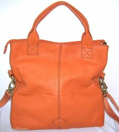 New Fossil Orange Leather Foldover Crossbody Bag Messenger Purse Handbag