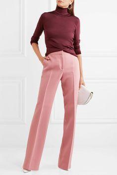 Claret and bubblegum-pink stretch silk-blend Slips on 87% silk, 10% polyamide, 3% elastane Dry clean Made in Italy