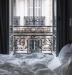 beautiful view out of the Parisian apartment .chic on chic .Paris is so beautiful . one of my favourite cities . Paris Bedroom, Bedroom Apartment, Dream Bedroom, Parisian Apartment, Purple Bedrooms, Bedroom Windows, Paris Photos, Trendy Bedroom, Small Rooms
