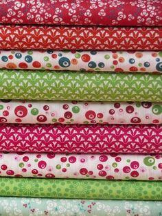 Orange, pink and green (originals fabrics, all rights reserved) www.motifs-et-cie.com #fabrics