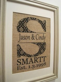 Burlap Monogram Gift Burlap Wedding Burlap Art by SunBeamSigns, $21.00