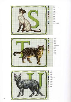 abc gatos S-U Cross Stitch Alphabet Patterns, Cross Stitch Letters, Cross Stitch Boards, Cross Stitch Animals, Cross Stitch Designs, Cross Stitching, Cross Stitch Embroidery, Cat Pattern, Painting