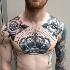 roses and crown by Chris Anthon, Guelph ON, Canada | rose tattoos for men