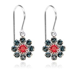 Navy & Red Flower Drop Earrings - $19.80