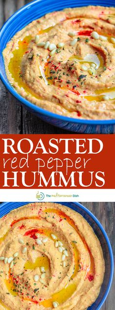 Roasted Red Pepper Hummus Recipe | The Mediterranean Dish. A rustic hummus dip with lots of punch! Roasted red peppers, jalapeno, garlic and a couple of great spices, blended to a make the best roasted red pepper hummus! Yes, THE BEST! Check out the recipe on TheMediterraneanDish.com